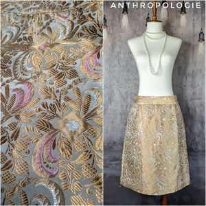 Anthropologie Elevenses Brocade Pencil Skirt